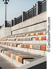filas, rua, assentos
