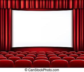 filas, teatro, cine, asientos, scre, blanco, frente, blanco, o, rojo