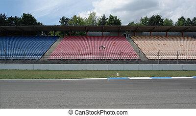 filas, tribune, pista, asiento