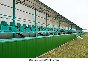 filas, verde, stadium., assentos estádio, vazio