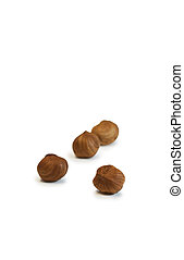 Filbert grains isolated on a white background
