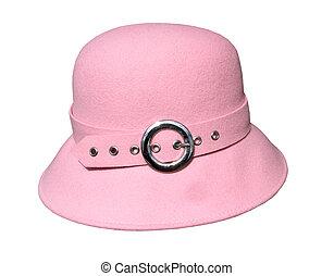 filc, kalap, rózsaszínű
