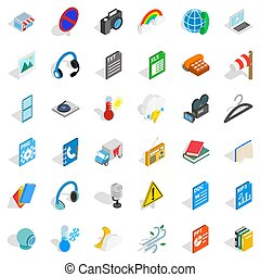 File and app icons set, isometric style