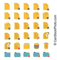 A set of flat file and folder icons