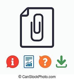 File annex icon. Paper clip symbol. Attach symbol. Information think bubble, question mark, download and report.
