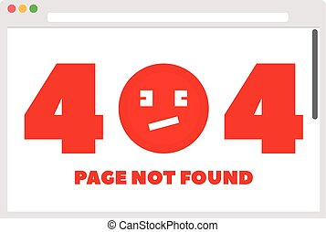 File browser with 404 error and emoticon. Vector illustration