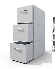 file cabinet 3d on white floor