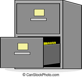 File cabinet - Cartoon illustration showing a metal file...