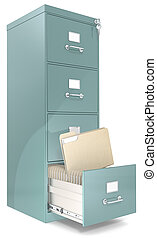 Classic file cabinet with lock. One open drawer. Copy Space.