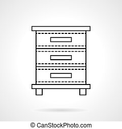 File cabinet flat line vector icon