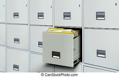File cabinet full with document files