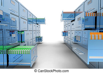 File cabinet on white background
