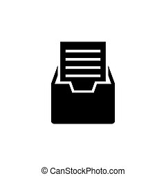File Cabinet with Documents Flat Vector Icon