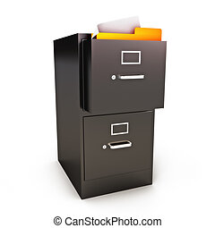 File Cabinet with files on a white background
