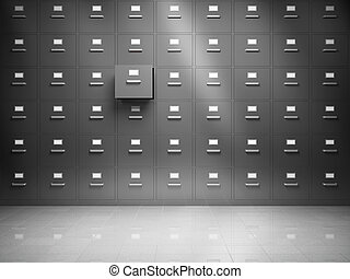 File cabinet with open drawer