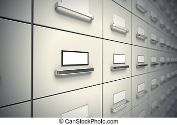 Large rows of grey file cabinets. Wall of cabinets.