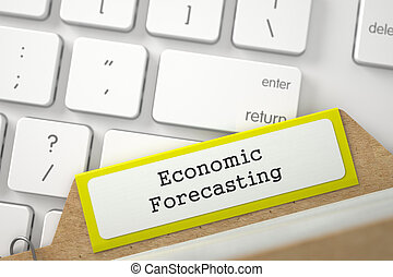 File Card with Inscription Economic Forecasting. 3D Illustration.