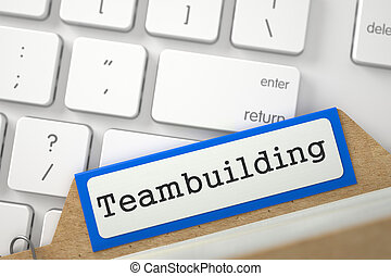 File Card with Inscription Teambuilding. 3D.