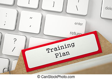 File Card with Inscription Training Plan. 3D.