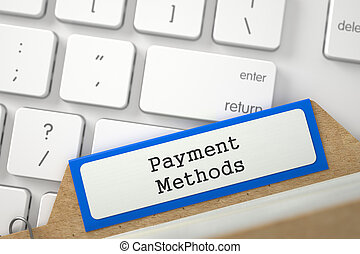 File Card with Payment Methods. 3D.
