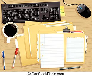 file, cima, pila, scrivania
