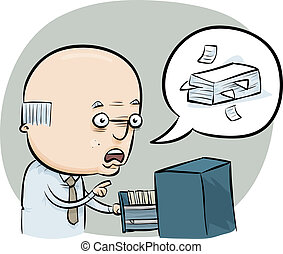 File Clerk - A cartoon man talks about managing the office...