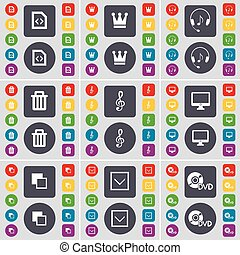 File, Crown, Headphones, Trash can, Clef, Mobile, Copy, Arrow down, DVD icon symbol. A large set of flat, colored buttons for your design. Vector