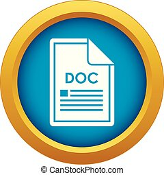File DOC icon blue vector isolated
