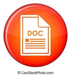File DOC icon, flat style