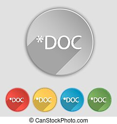 File document icon. Download doc button. Doc file extension symbol. Set of colored buttons. Vector