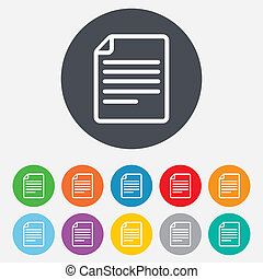 File document icon. Download doc button. Doc file symbol. Round colourful 11 buttons.