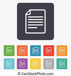 File document icon. Download doc button. Doc file symbol. Rounded squares 11 buttons. Vector