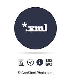 File document icon. Download XML button. XML file extension...