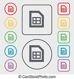 File document icon sign. symbol on the Round and square buttons with frame. Vector