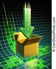 File download - Data download represented by a green arrow...