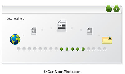 File download progress indicator window design on white...