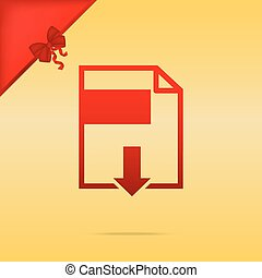File download sign. Cristmas design red icon on gold background.