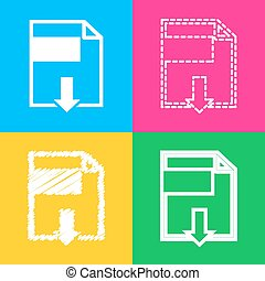 File download sign. Four styles of icon on four color squares.