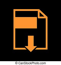 File download sign. Orange icon on black background. Old phosphor monitor. CRT.