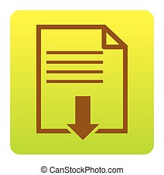 File download sign. Vector. Brown icon at green-yellow gradient square with rounded corners on white background. Isolated.