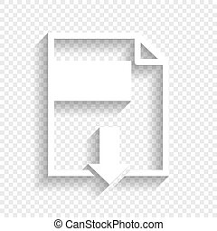 File download sign. Vector. White icon with soft shadow on transparent background.