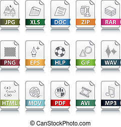 File extension icons - Set of file extension vector detailed...