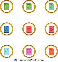 File extension icons set, cartoon style