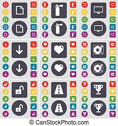 File, Fire extinguisher, Monitor, Arrow down, Heart, Gramophone, icon symbol. A large set of flat, colored buttons for your design. Vector