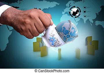 File folder around the tea cup and earth globe