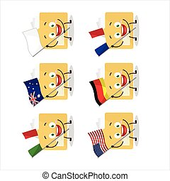 File folder cartoon character bring the flags of various ...