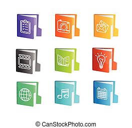 File Folder Colorful Icon Set. Vector