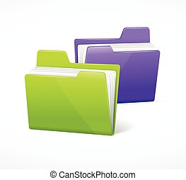 File Folder Colorful Set. Vector