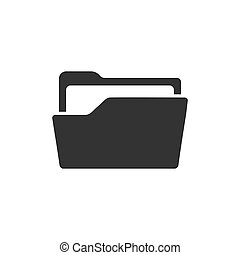 File folder icon in flat style. Documents archive vector illustration on white isolated background. Storage business concept.