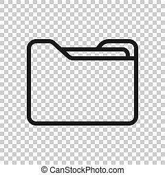 File folder icon in transparent style. Documents archive vector illustration on isolated background. Storage business concept.